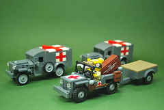 World War II medical/non-combat vehicles of the US Army (Dunechaser) Tags: usa army unitedstates lego jeep military ambulance worldwarii ww2 dodge mb willys allied wc54 brickarms