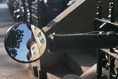 (pop archaeologist) Tags: city nyc reflection film brooklyn kodak parkslope stoop brownstones retina parapets portra400 iia bikemirror uncoatedlens