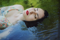 Awakening (LaRuephotography) Tags: red summer portrait lake water colors river photography spring sink vivid floating lips float nymph sinking drown larue