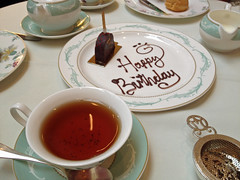 The waiting staff served me an impromptu birthday cake. I had this with Oolong tea because that's what the Queen drinks, according to the Savoy. (maggie jones.) Tags: london rich posh
