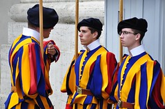 Changing of The Vatican's Swiss Guard (Crumblin Down) Tags: city blue italy vatican rome roma church saint silhouette st museum last painting table walks paint italia catholic tour cathedral chairs swiss basilica guard murals statues chapel christian peter changing seats obelisk marble michelangelo peters judgement pieta sistine walksofitaly cal2014