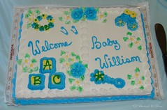 The Cake (Bluebird Becca) Tags: blue boy baby white yellow cake shower chocolate icing welcome