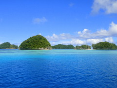 Rock Islands near German Channel, Palau (mattk1979) Tags: blue beach water rock island pacificocean tropical palau