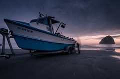 Catch Of The Day (Alan Drake) Tags: ocean longexposure blue sunset sea fish colour beach nature oregon digital landscape boat sand nikon exposure dusk naturallight nd fishingboat ndfilter d7000