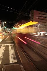 はりまや橋を出発する路面電車