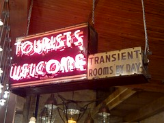 """""""Tourists Welcome"""" Neon Sign (artistmac) Tags: city red urban chicago sign metal illinois neon tubes illuminated il hanging tubing lighted touristswelcome"""