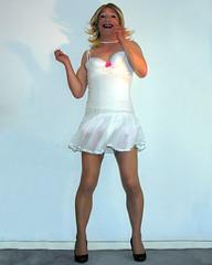 white twirl (gillian .) Tags: white stockings tv lace feminine cd tgirl transgender mature tranny twirl blonde transvestite heels suspenders miniskirt crossdresser ts tg pleats tgurl