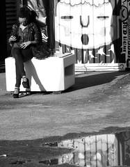 O (Alex L'aventurier,) Tags: city light urban blackandwhite woman canada reflection art water girl canon puddle graffiti eau montral noiretblanc quebec lumire montreal candid femme reflet qubec stlaurent fille ville urbain g10