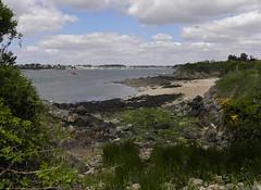 The red boat (rockwolf) Tags: sea france beach coast fishing sand brittany rocks cove bretagne morbihan redboat stphilibert 2013 rockwolf