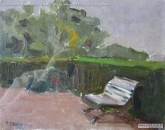 Romualdo Prati Solitudine al parco olio su tela 20x24.5cm Collezione privata