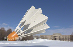leaning shuttlecock in snow (ipicture365) Tags: white snow museum day lawn sunny mo kansascity missouri kc nelsonatkins shuttlecock