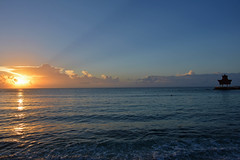 Sunrise at  Caribbean Sea (cpcmollet) Tags: ocean travel light sea vacation sky cloud sun seascape luz sol beach nature clouds sunrise puerto hotel mar nikon skies horizon yucatan playa cel natura catalonia amanecer cielo caribbean horizonte platja llum caribe aventuras palopa crib