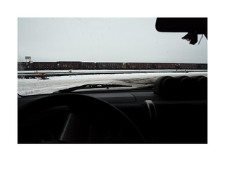 Empty ore cars in rail yard
