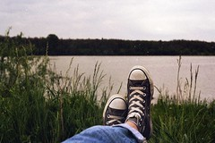 (Osyam-osyam) Tags: wood trip trees sky plant hot color green film feet nature water grass river landscape spring warm village looking view legs horizon grain sneakers jeans shore converse botany laying