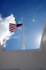 American Flag (sarowen) Tags: sky sunlight clouds hawaii oahu flag americanflag bluesky pearlharbor honolulu sunrays redwhiteandblue starsandstripes oldglory ussarizona whiteclouds ussarizonamemorial honoluluhawaii honluluhi wwiivalorinthepacificnationalmonument