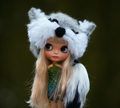 Blythe fox hat with tail