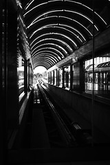 End of the Line (Chris O'Brien - Ellipsis-Imagery) Tags: light blackandwhite bw glass lines train airport track iso400 5 28mm f4 2014 120sec canoneos40d chrisopics flickrxpost ellipsisimagery