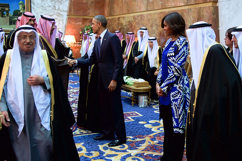 From flickr.com: President and First Lady Obama, With Saudi King Salman, Shake Hands With Members of the Saudi Royal Family {MID-197591}