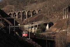 SBB Lokomotive Re 4/4 II 11197 ( Hersteller SLM Nr. 4759 - BBC - MFO - SAAS => Baujahr 1969 ) mit InterRegio Zug in den Schlaufen der Biaschina auf der Gotthard Südrampe der Gotthardbahn im Kanton Tessin der Schweiz (chrchr_75) Tags: chriguhurnibluemailch christoph hurni schweiz suisse switzerland svizzera suissa swiss chrchr chrchr75 chrigu chriguhurni februar 2015 hurni150220 albumgotthardsüdrampe gotthard gotthardbahn südrampe kantontessin kantonticino albumbahnenderschweiz albumbahnenderschweiz201516 schweizer bahnen eisenbahn bahn train treno zug albumsbbre44iiiii lok lokomotive sbb cff ffs schweizerische bundesbahn bundesbahnen re44 re 44 juna zoug trainen tog tren поезд паровоз locomotora lokomotiv locomotief locomotiva locomotive railway rautatie chemin de fer ferrovia 鉄道 spoorweg железнодорожный centralstation ferroviaria steinbrücke steinbogenbrücke bogenbrücke brücke bridge pont ponte