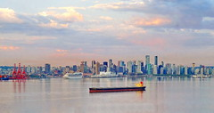 Beautiful morning light (peggyhr) Tags: canada skyline vancouver bc harbour ships cranes cruiseship canadaplace thegalaxy peggyhr thegalaxyhalloffame thelooklevel1red super~sixstage2silver super~sixstage3gold super~sixbronzestage1 dsc05499ab