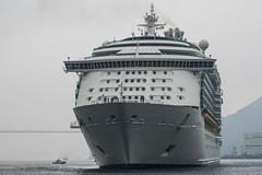 Arrival of a big cruise ship 5 (kmmanaka) Tags: japan nagasaki cruiseship fog rain harbor internationalterminal rose
