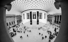 Fish eye (Mitsikp) Tags: city blackandwhite building london history monochrome museum architecture fisheye historical