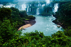 Iguassu Falls, The Largest Series Of Waterfalls Of The World, View From Brazilian Side (susnatabaidya) Tags: park travel blue brazil sky blur tree green tourism nature water argentina beautiful clouds america forest river spectacular wonder landscape flow outdoors waterfall scenery whitewater view natural south famous scenic landmark falls exotic national jungle huge cataratas destination environment gorge concept majestic cascade iguazu greatness cataract fissure iguassu iguasu rift