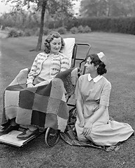 A polio patient in Shropshire. (jackcast2015) Tags: polio infantileparalysis poliomylitis braces braced calipers handicapped disabledwoman crippledwoman wheelchair