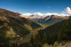 onrush of scenery (cherryspicks (off for a while)) Tags: trees mountain green river landscape scenery colorado outdoor canyon valley mountainside independencepass mountainpeak