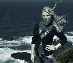 Irina (free3yourmind) Tags: sea portugal girl pose hair rocks waves wind blow irina azores