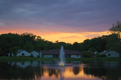 Sunset - 2016-05-24 (Mirkwood Networks) Tags: houses sunset lake storm reflection fountain colors clouds lights nj