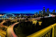 Seattle City Light Trails (JM Clark Photography (jamecl99)) Tags: seattle city traffic lighttrails washington pugetsound i5 bridge hiway buildings stadium landscape cityscape