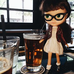 Anouk's at it with the craft beer again - this time enjoying a pint at Home and Away (her fav is Red Rage by Tool Shed Beer)  (endangeredsissy) Tags: blythe blythedoll kennerblythe 365blythe homeandaway beer craftbeer