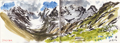 160527 Soulcem (Vincent Desplanche) Tags: mountain montagne watercolor sketch aquarelle sketchbook neocolor croquis carandache seawhiteofbrighton
