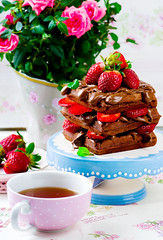 waffle with nutella and strawberry (Zoryanchik) Tags: food brown hot yellow breakfast dessert lunch golden healthy strawberry dish sweet chocolate background cream tasty plate fresh stack nutella waffle