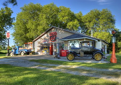 Retro-Style Phillips 66 Service Station (Tom Mortenson) Tags: usa station wisconsin digital america canon vintage geotagged midwest retro gasstation nostalgia northamerica americana canoneos hdr fuel servicestation gaspumps phillips66 fillingstation ogdensburg photomatix 24105l tonemapping petroliana waupacacounty centralwisconsin canon6d waupacacountywisconsin simulatedfillingstation ogdensburgwisconsin simulatedgasstation simulatedservicestation