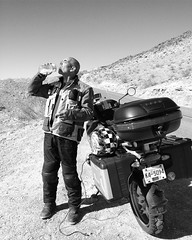 Hot and thirsty in Death Valley four years ago....   #traveltuesday #ontheroad #motorcycle #roadtrip #travel #deathvalley #nevada #california #desert #motorcycleroadtrip #motorcycletravel #discovertheroad #travelstoke #ourplanetdaily (HappyBarbers) Tags: california travel square desert nevada roadtrip squareformat motorcycle deathvalley inkwell ontheroad iphoneography instagramapp uploaded:by=instagram