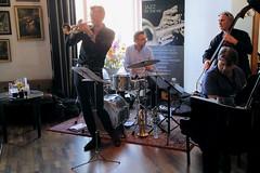 Ruud Breuls Quartet 7460-4_9309 (Co Broerse) Tags: music composedmusic contemporarymusic jazz amsterdam 2016 cobroerse redlightjazzfestival jazzatthevic parkplazavictoria parkplazavictoriaamsterdam ruudbreulsquartet josmachtel doublebass jurajstanik piano ruudbreuls trumpet felixschlarmann drums percussion