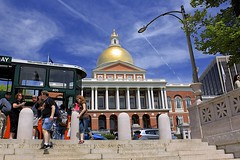 Massachusetts State House (oxfordblues84) Tags: blue trees sky people woman man building men boston architecture clouds stairs women massachusetts steps bluesky tourist tourists bostoncommon beaconhill cloudysky hoponhopofftour golddome bostonmassachusetts massachusettsstatehouse statecapitalbuilding outdoorstairs oldtowntrolleytour charlesbulfinich