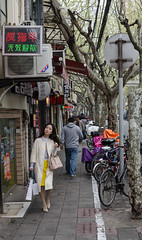 The French Concession 3 (pruse) Tags: china street city people urban woman tree bicycle shanghai walk pedestrian frenchconcession