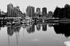 Waterside (scottyrobson) Tags: blackandwhite canada vancouver boats scenery skyscrapers harbour srp portfolio waterside scottyrobsonphotography