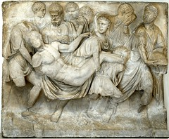 Ancient Rome. Death of Meleager (a piece of a front panel of a sarcophagus), Marble,  mid-2nd century AD (mike catalonian) Tags: sculpture sarcophagus marble ancientrome 2ndcenturyad meleager