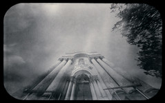 Garrison Church, pillars (batuda) Tags: city sky bw building tree church architecture paper tin kodak columns wide perspective entrance wideangle pinhole d76 6x9 analogue altoids pillars lithuania obscura kaunas stenope soboras neobyzantine polymax