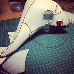 Making of a white plague doctor mask. #postapocalyptic #postapocalypse #steampunk #steampunkmask #leathermask #handmade #LARP #plaguedoctor #plaguedoctormask #dieselpunk #dark #Leather #costume #cosplay #tophat #leatherhat (tovlade) Tags: black girl face make up leather punk hand mask goth goggles made doctor cyber cybergoth cyberpunk plague larp steampunk postapocalyptic postapocalypse dieselpunk