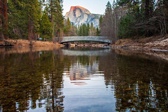 On the Eve (Thomas Hawk) Tags: california bridge usa reflection water america river nationalpark unitedstates fav50 unitedstatesofamerica yosemite yosemitevalley fav10 fav25 fav100