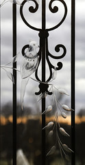 Dusk at the Motherhouse (Lawrence OP) Tags: sunset bird glass sisters iron doors dominican nashville engraved wrought novice