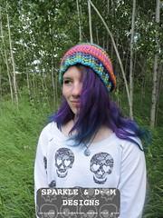 Anita Rainbow Toque DSCN3528 (zreekee) Tags: hat rainbow crochet saskatchewan rhiannon lionbrand landscapesyarn sparkledoomdesigns anitatoque