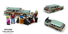 Ford 1959 Country Squire Wagon (lego911) Tags: ford galaxy country squire wagon estate woody 1950s classic v8 chrome auto car moc model miniland lego lego911 ldd render cad povray family