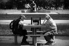 Chess players & eternal observer (RafalZych) Tags: park street summer portrait monument garden photo nikon outdoor watching chess observe players nikkor karpov kasparov lodz d pomnik d90 szachy 1685 staromiejski gracze ledzia sledzia