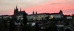 Prague castle under pink sky (Sannou In The Middle) Tags: pink sunset sky colors rose clouds canon prague couleurs praha praskhrad ciel czechrepublic nuages coucherdesoleil rpubliquetchque praguecastle chteaudeprague canoneos600d